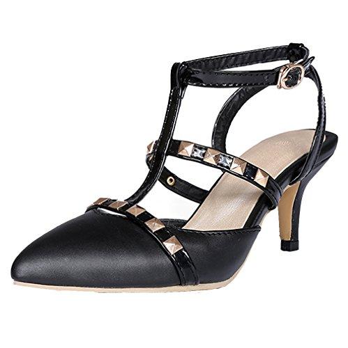 YE Damen Spitze T-spangen klein Absatz Kitten Pumps mit Nieten und Schnalle Schuhe Schwarz