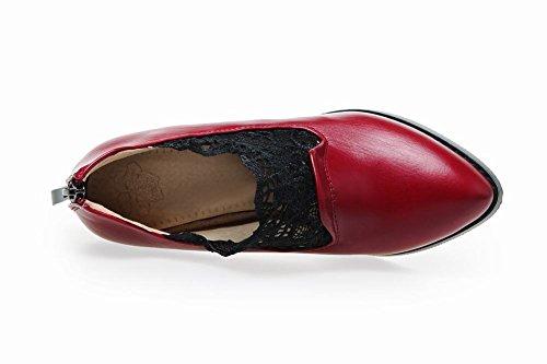 Charm Fot Womens Fashion Dragkedja Spets Chunky Hög Klack Boots Vinröd