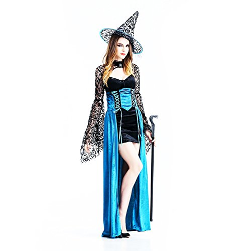Bewitching Enchantress Costumes (Women's Elegant Robe Witch Costume Long Dress Wicked Enchantress Halloween Cosplay Role Play Party Dress (L, BLUE))