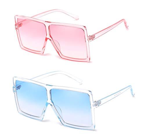 aa4f62c2b4b MAOLEN Oversized Square Sunglasses for Women Men Flat Top Shades Sunglasses