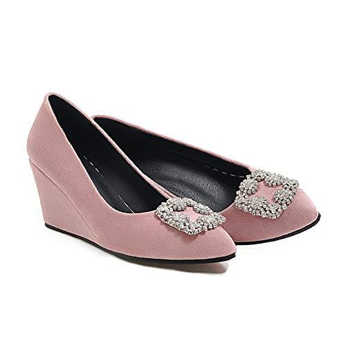 Avec Pink Vitalo Strass Bout On Slip Elégants Chaussures Fermé Compensées Femme vOvrqX