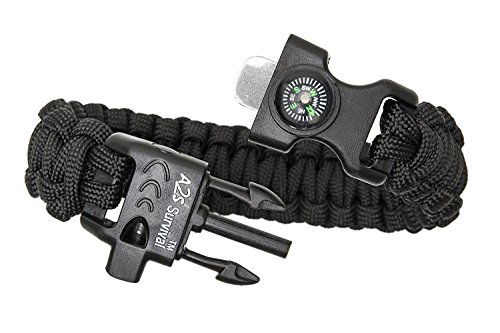 Paracord Bracelet K2-Peak – Survival Bracelets with Embedded Compass, Fire Starter, Emergency Knife & Whistle EDC Hiking…