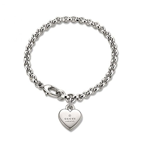 Gucci Women's Trademark Bracelet w/ Heart Charm Silver - Gucci Guide Size