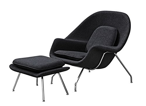 Aron Living WM1056-Black Eero Saarinen Style Lounge Chair and Ottoman, Large, Black 41wfC0g 2BNxL