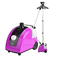 GOTOTOP 1700W High Power Portable Clothing Steamer Standing Fabric Steamer with Garment Hanger and Fabric Brush (Purple)