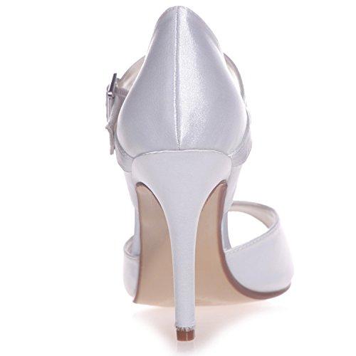 Hochzeit Elobaby Ferse Peep Frauen Schuhe Toe Mittlere 42 Größe Schnalle 35 9 Satin Ferse Chunky rrw5qHYZ