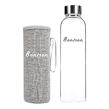 BONISON Stylish Top Quality Borosilicate Glass Water Bottle with Colorful Nylon Sleeve, 18 oz, Grey