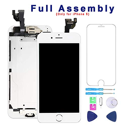 Detector Assembly (Screen Replacement for iPhone 6 White 4.7''Full Assembly LCD Display Touch Digitizer with【Front Camera】【Home Button】【Proximity Sensor】【Earpiece Speaker】 Screen Protector, Repair Tools)