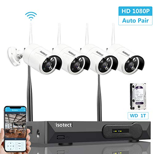 ss Security Camera System, Isotect Full HD 8CH 1080P WiFi NVR Kit with 4pcs 1080P Indoor Outdoor Wireless Video IP Cameras, Remote Playback, 65ft Night Vision, 1TB Hard Drive ()