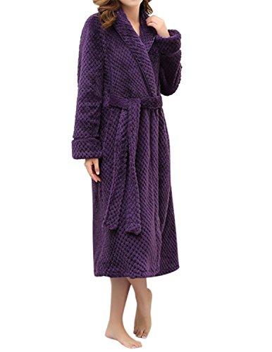 Lapaya Womens Long Bathrobe Shawl Collar Full Length Soft Warm Plush Fleece Robe  Purple  Tag Size M Us Size S