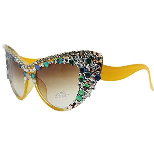 de Crystal la classe Lunettes Rimless soleil designer jaune soleil polarisée la strass cristal brillants Beach Lady yeux lunettes Haute nuances l'été pour à chat semi de main nouveauté couleur RIwWZraqxR