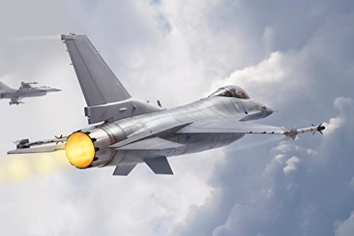 F16 Fighting Falcon Supersonic Fighter Jets Flying Through Clouds Photo Art Print Poster 24x36 inch