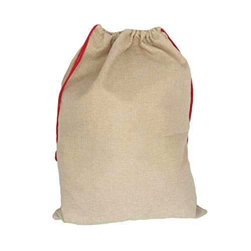 MONOBLANKS Burlap Christmas Santa Sack, Bag Santa Bag Canvas with Drawstring Personalized Best Gifts Bags for Home Familys (Burlap)]()