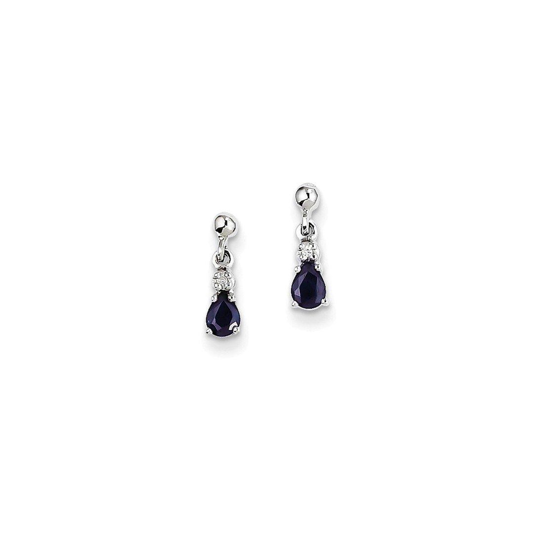 ICE CARATS 14k White Gold Blue Sapphire Diamond Drop Dangle Chandelier Post Stud Earrings Fine Jewelry Gift Set For Women Heart