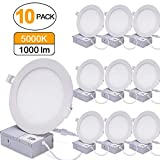 12W 6'' Ultra-Thin Recessed Ceiling Light with Junction Box, 5000K Daylight White, Dimmable Airtight Downlight, 1000lm 120W Equivalent, ETL Listed, LED Downlight, 10 Pack