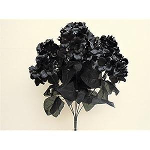 "Hydrangea Bush Artificial Silk Flowers 7-730BK 20"" Bouquet Black 54"