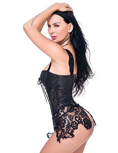 MISS MOLY Women Steampunk Faux Leather Bustier Sexy Dress Corset Top Zip Plus Size Black