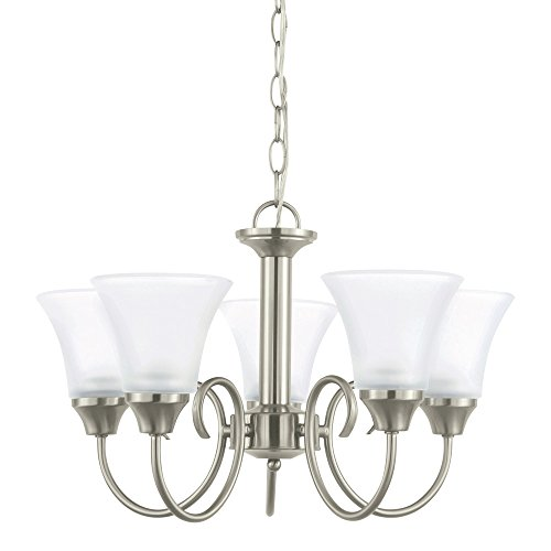 Satin Glass Etched - Sea Gull Lighting 31808-962 Holman Five-Light Chandelier with Satin Etched Glass Shades, Brushed Nickel Finish