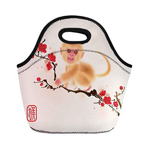 Semtomn Lunch Bags Oriental Painting Monkey on Plum Blossom Tree Translation Neoprene Lunch Bag Lunchbox Tote Bag Portable Picnic Bag Cooler Bag
