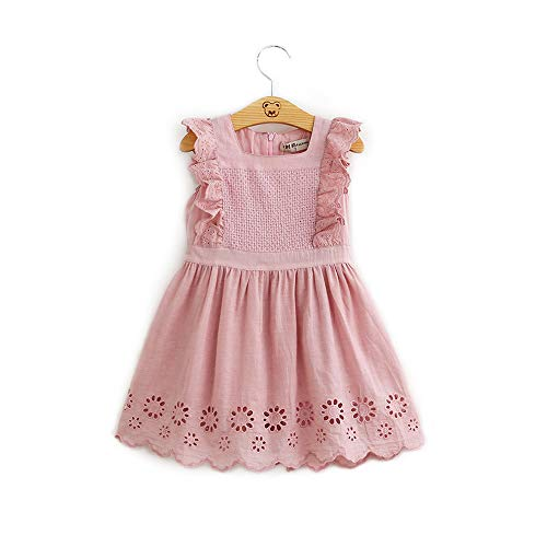 - Hurave Toddler Girls Eyelet Summer Dress Ruffled Embroidered (3T, Dusty Rose)