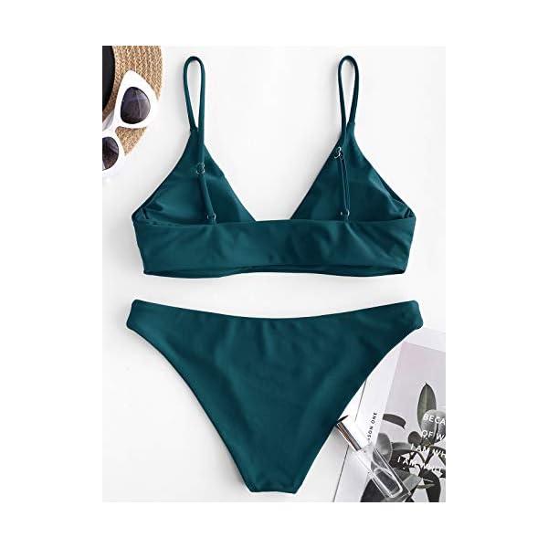 ZAFUL Bikini da Donna in 2 Pezzi Costume da Bagno Foglia Tropicale Bralette Imbottita 5 spesavip