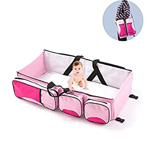 Multifunctional 3 in 1 Baby Changing Bags Travel Bassinet Bed Portable Foldable Bag Tote Bag Nappy Changing Bag Baby Crib Carrycot,Pink