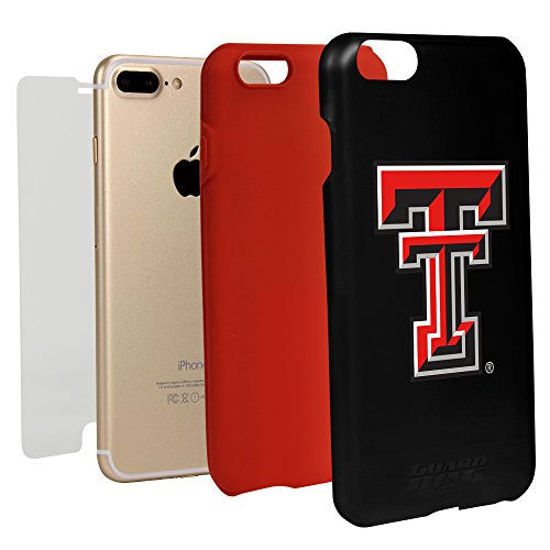 Texas Tech Red Raiders Guard Dog Hybrid Case for iPhone 7 Plus/8 Plus With Guard Glass Screen Protector - Black (Tech Glass Raiders Texas Red)