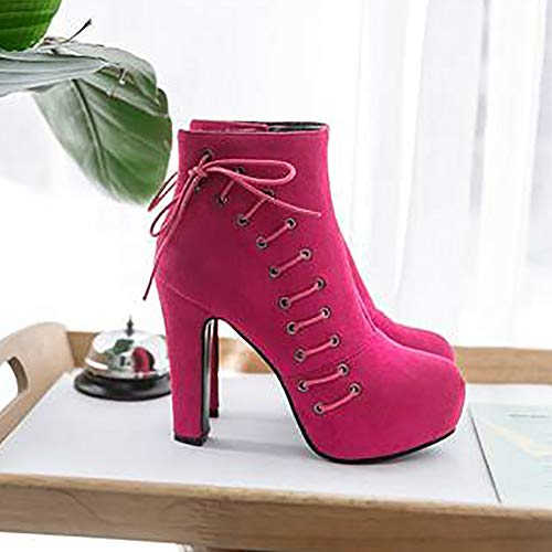 High Women Zipper Ankle Boots Fashion Heel Coolcept Red Rose 4AxanEHEq