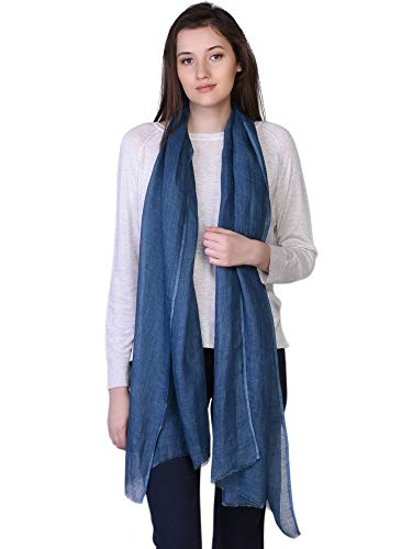 100% Linen Scarf Spring Summer Womens Mens Fashion Solid Stole Majolica Blue