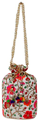 Filora Women's Ethnic Rajasthani Red Silk Potli Bag Purse Bridal Clutch