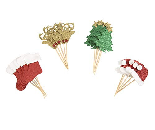 Partico 24 Pcs Christmas Glitter Cupcake Topper Food Fruit Picks Decorations for Christmas Party Favors Includ Santa Hats, Christmas Tree, Red Socks, Golden Reindeer