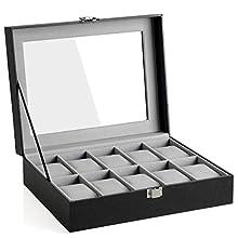 SONGMICS JWB010BK - Caja para Relojes con 10 Compartimentos (Tapa de Cristal, Funda para Relojes extraíble, Forro Interior de Terciopelo, Cierre de Metal, Poliuretano), Color Negro