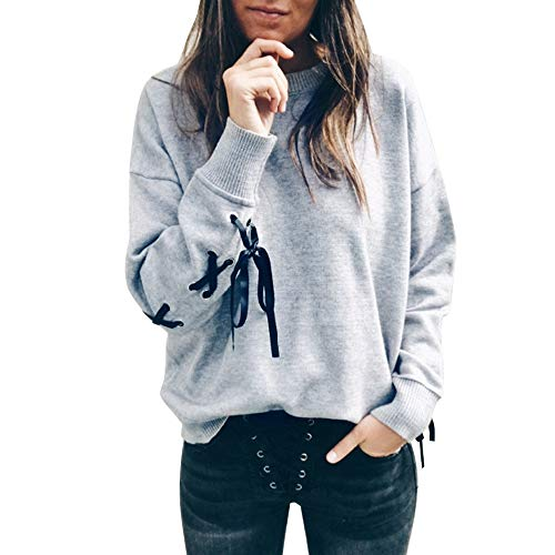 Dressin_Women's Long Sleeve Clearance!Fashion Women Bow O-Neck Sweater Crop Sports Pullover - Sweater Operator