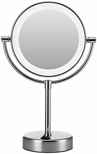 ed Makeup Mirror, 1x/5x magnification, 7-Inch,Polished Chrome Finish (Lighted Pedestal Mirror)