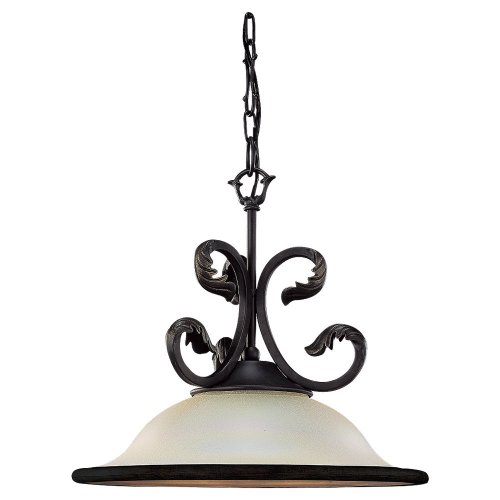 013-802 Single-Light Windsor Manor Pendant, Excavated Pearl Glass, Obsidian Mist (Obsidian Pool)