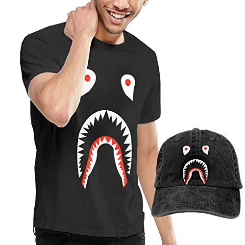 Bape Men's Classic Short Sleeve Crew Neck T-Shirt + HAT Combo -