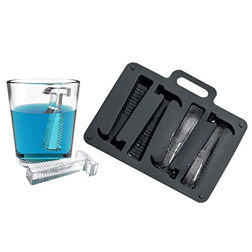 - FLY SPRAY Silicone Ice Cube Tray Novelty Funny Hammer Ice Mold, Make Ice In The Shape Of Hammers Large Freezing Tray Flexible Easy Release and BPA Free Produces 4 Cubes Grey