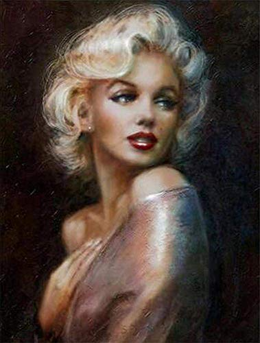 DIY 5D Diamond Painting by Number Kits, Crystal Rhinestone Diamond Embroidery Paintings Pictures Arts Craft for Home Wall Decor,Marilyn Monroe. (15.723.6inch)?