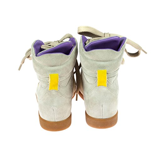Serafini Damen Sneaker mit Keilabsatz Textil Leder Beige