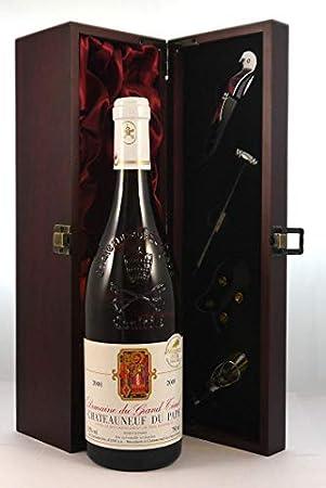 Chateauneuf du Pape Blanc 2000 Domaine du Grand Tinel en una caja de regalo forrada de seda con cuatro accesorios de vino, 1 x 750ml