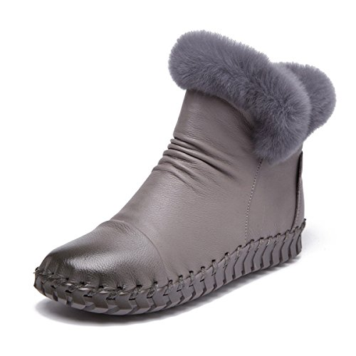 GTYW Women's High Heels Boots Winter Top Leather Women's Cotton Shoes Soft Sole Women's Cotton Boots Handmade Real Hair Genuine Leather Booties Handmade Shoes Gray