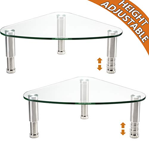 2 Pack Computer Monitor Riser | Triangle Desktop Universal Corner Stand for Computer Monitor & Laptop HD01T-203 Clear Steel Tv Stand