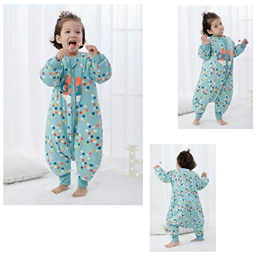 HUYP Split Leg Sleeping Bag Autumn and Winter Thickening Baby Child Child Baby with Sleeve Double Zipper Anti-Kick (Size : XXL) by Baby Sleeping Bag (Image #3)