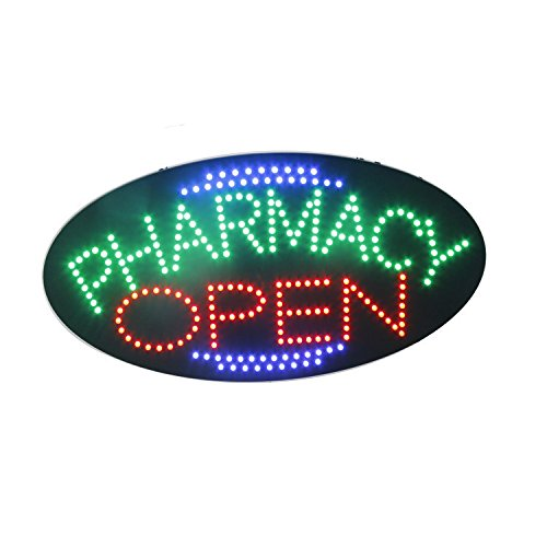LED Pharmacy Open Light Sign Super Bright Electric Advertising Display Board for Drugstore Chemists's Shop Store Window Bedroom Decor (19 x 10 inches)]()