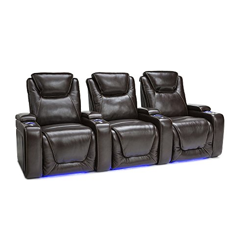 Seatcraft Equinox Home Theater Seating Power Recline Leather (Row of 3, Brown) For Sale
