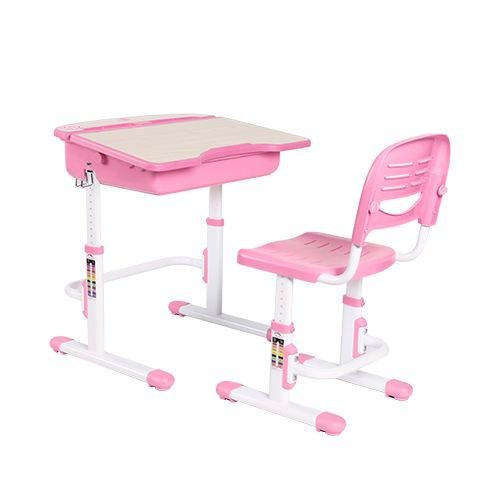 The House of Trade Adjustable Height Student School Desk 26.5 in. Wide x 21 in. Deep - For Kids Ages 5 to 14 - Rises from Sit to Stand Up (Pink) by The House of Trade