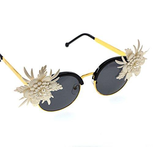 pour de de Conduire UV Femmes Protection Ultra Vacances Fleur légères décoration Plage de Blanc Simple des de de Soleil Lunettes Baroque Les OZPAqxx