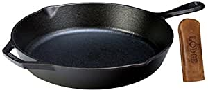 """Lodge Seasoned Cast Iron Skillet w/ Hot Handle Holder- 12"""" Cast Iron Frying Pan with Genuine Leather Hot Handle Holder"""