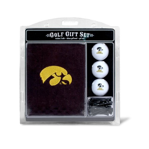 Team Golf NCAA Iowa Hawkeyes Gift Set Embroidered Golf Towel, 3 Golf Balls, and 14 Golf Tees 2-3/4