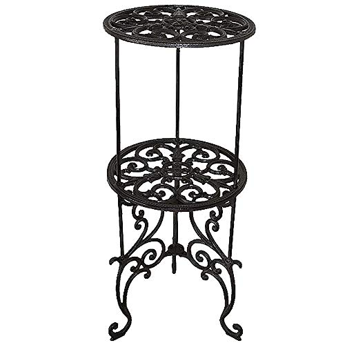 Sungmor Heavy Duty Cast Iron Potted Plant Stand,26-Inch 2 Tiers Metal Planter Rack,Decorative Flower Pot Holder,Vintage & Rustic Style Indoor Outdoor Garden Pots Container ()